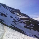 Steil sneeuwveld vanaf Col du Bonhomme